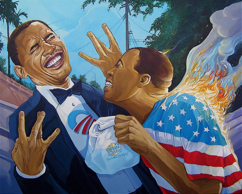 Trump art Dave MacDowell Obama